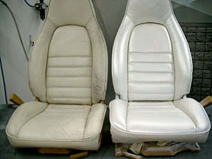 Porsche mother-of-pearl leather seat, before and after our treatment